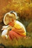 子供とウサギ