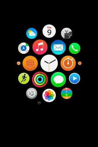 Apple Watch Ikonen Kunst Illust Dark iPhone Wallpaper