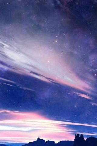 Natur glänzend bewölkt Space View Night iPhone Wallpaper
