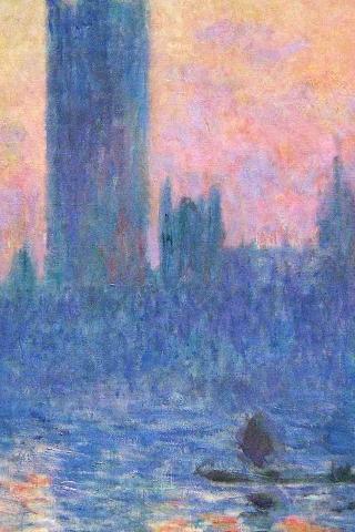 クロード ・ モネ古典的な絵画アート日没パターン iPhoneの壁紙
