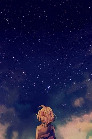 Sternenhimmel Raum hinsichtlich Anime Mädchen iPhone Wallpaper