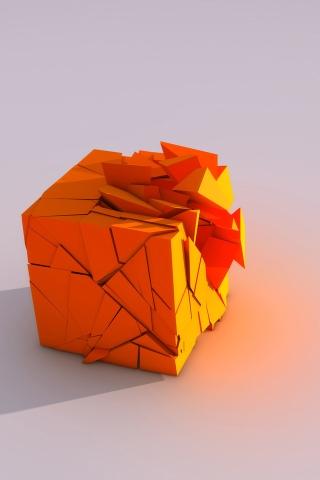 Broken Cube iPhone Wallpaper